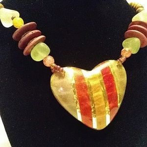 Handmade Wood Heart Necklace W/Earrings